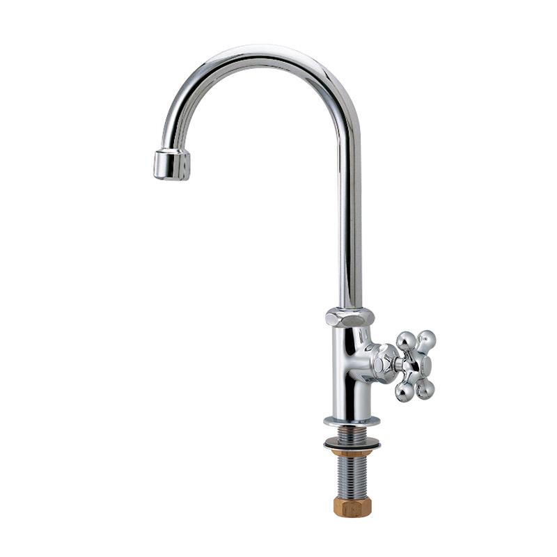 クロススワン立形自在水栓|手洗いし易いスワン形蛇口