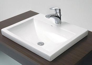 493-003 角型半埋洗面器A(水栓直付けタイプ)