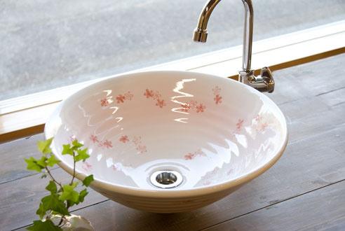 美濃焼 和風手洗器 桜ちらし 両面仕上げ Sサイズ 手洗い器 手洗鉢 手洗いボウル φ320*H125mm