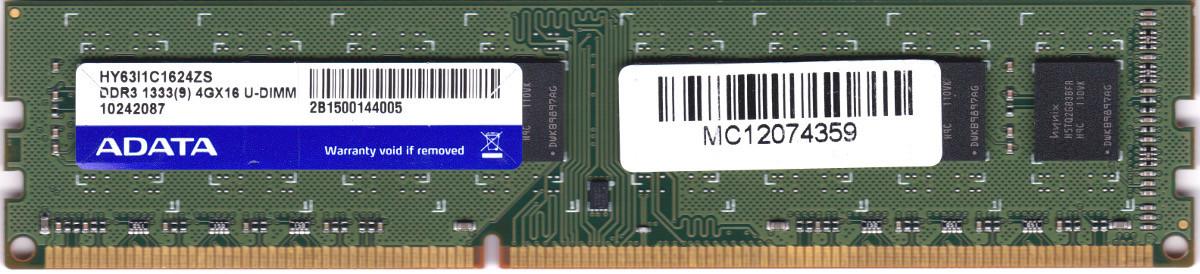 送料無料の DDR3 4GB デスクトップパソコン用メモリ ADATA PC3-10600U DDR3-1333 240ピン 動作保証品 型番:HY63I1C1624ZS 中古 誕生日プレゼント 両面実装 (人気激安) DIMM 2Rx8