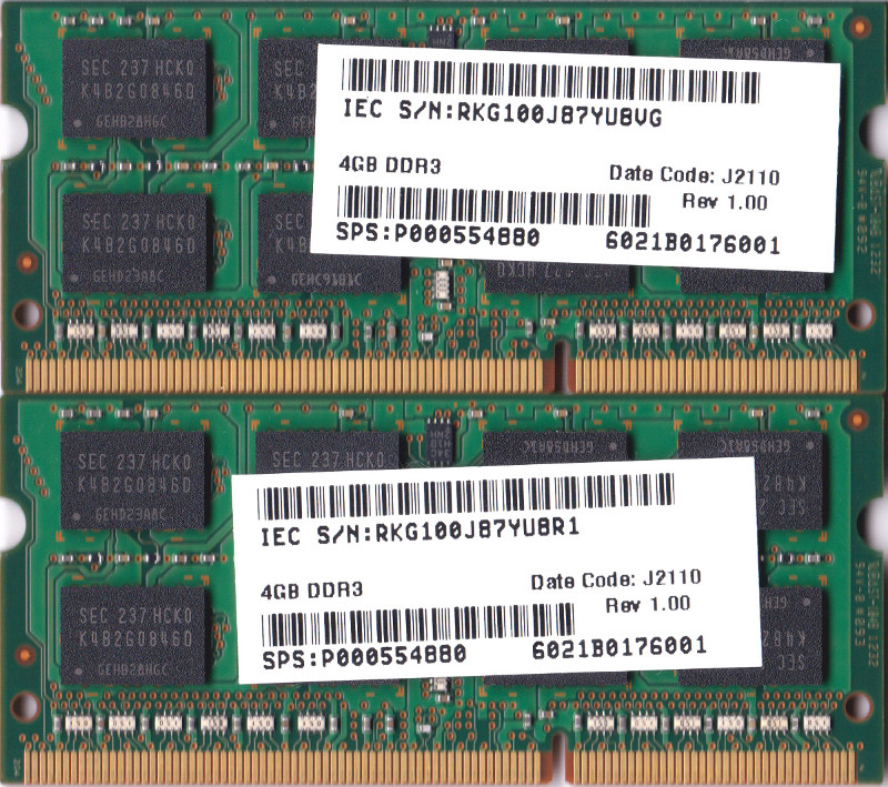 SAMSUNG PC3-12800S (DDR3-1600) 4GB x 2枚組み 合計8GB SO-DIMM 204pin ノートパソコン用メモリ 動作保証品