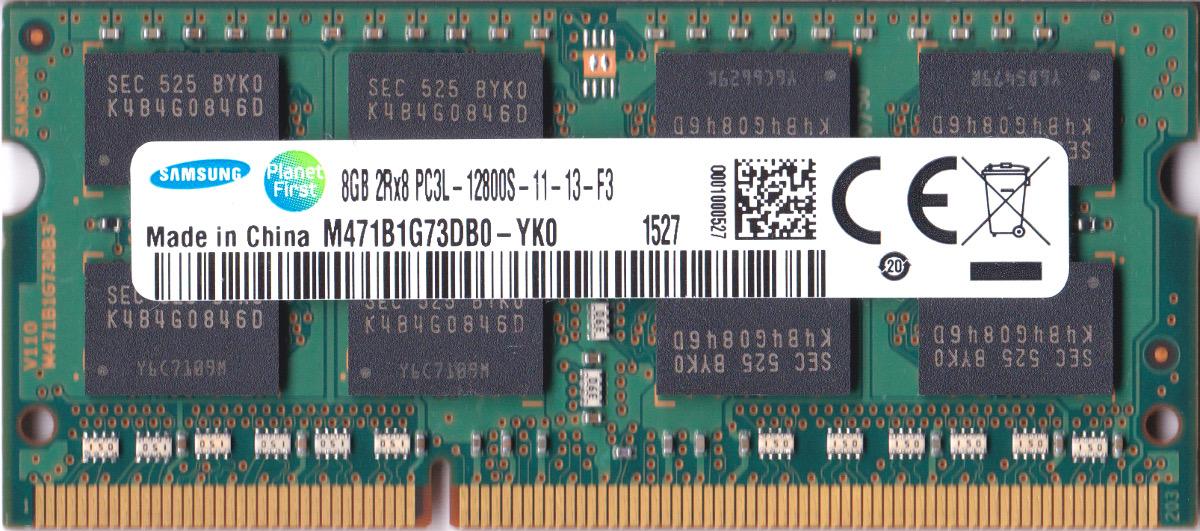 送料無料のDDR3 8GB ノートパソコン用メモリ メーカー直送 SAMSUNG 低電圧メモリ 1.35V PC3L-12800S DDR3L-1600 中古 SO-DIMM 動作保証品 204pin 2Rx8 両面実装 型番:M471B1G73DB0-YK0 激安挑戦中