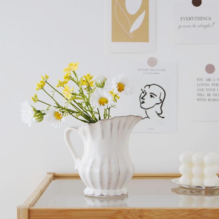 フラワーベース 花瓶 ピッチャー型 おしゃれ かわいい アンティーク調 Sサイズ 登場大人気アイテム シンプル 35%OFF 白 花器 倉庫からの発送 インテリア