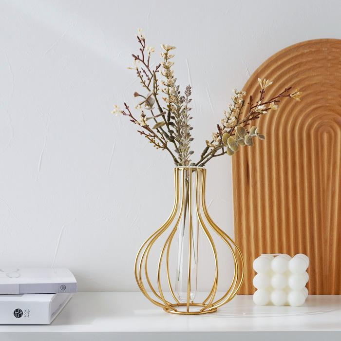 フラワーベース 花瓶 一輪挿し ガラス アイアン ゴールド おしゃれ 高品質 かわいい 与え インテリア onion 倉庫からの発送 ガラス×アイアン オニオン シンプル 25日は全品5%OFF クーポン
