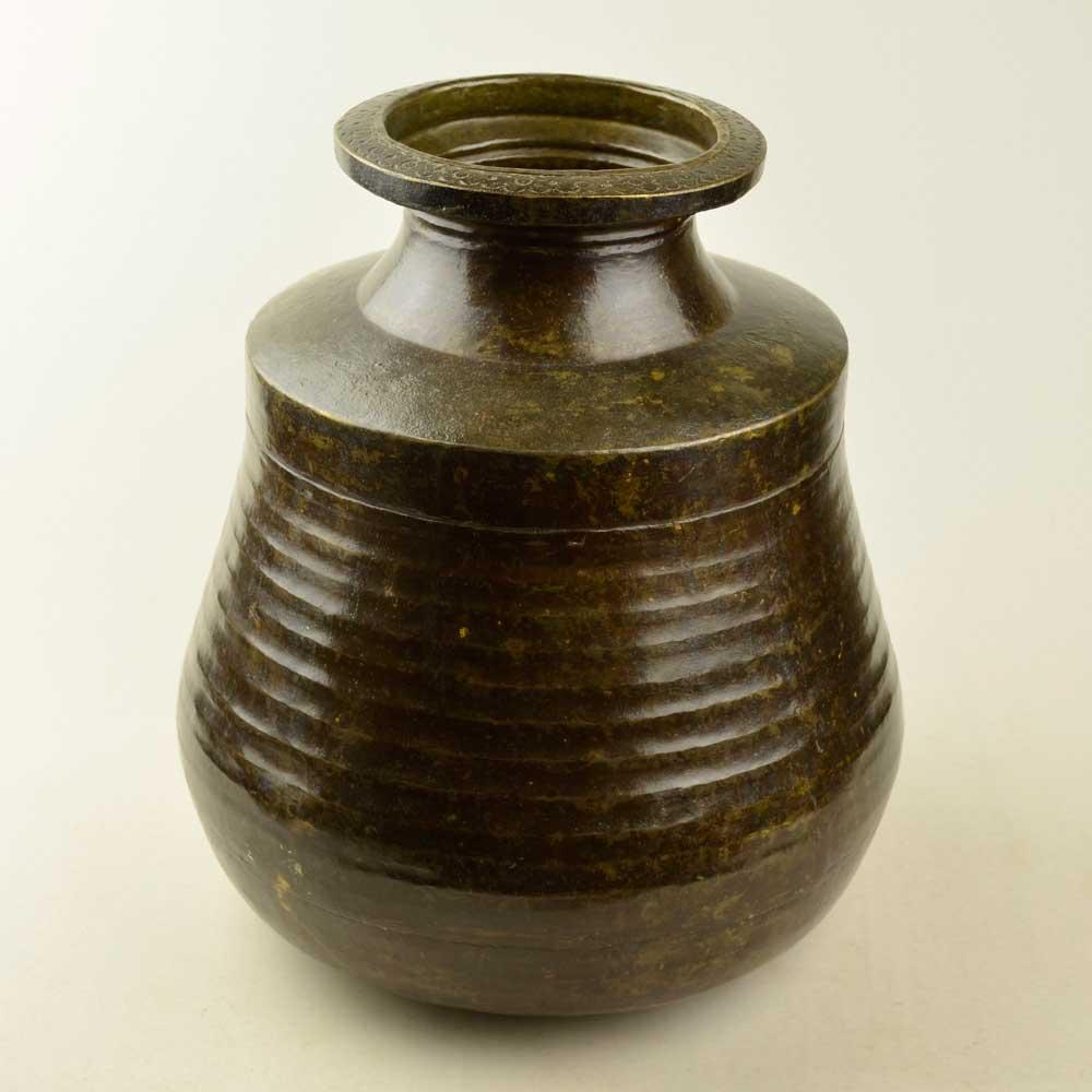 インド直輸入古物 真鍮の壺 高さ36cm 直径32cm 重さ3.4kg アンティークブラスポット インテリア MGD-O-GOODS-013
