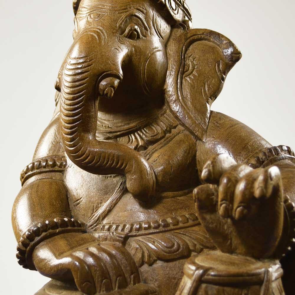 タブラバヤンを叩くガネーシャ 高さ約45cm 重さ約5.4kg インドの象の神様 置物 木像 WGO-044
