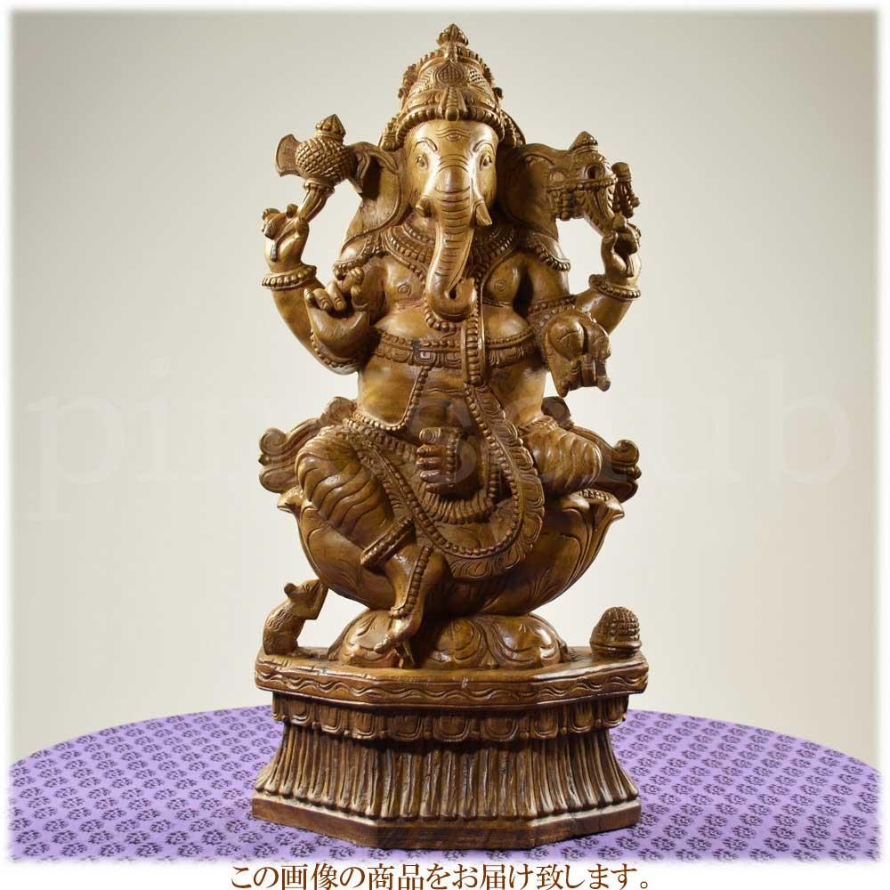 ガネーシャ座像 高さ約61cm 重さ約6kg インドの象の神様 置物 木像 WGO-093