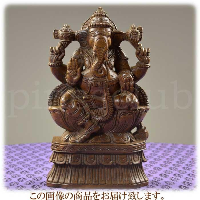 ガネーシャ座像 高さ約30cm 重さ約1.4kg インドの象の神様 置物 木像 WGO-115