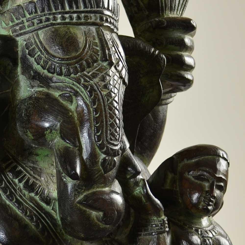 ガネーシャ座像 高さ約62cm 重さ約14.6kg インドの象の神様 置物 木像 WGO-122