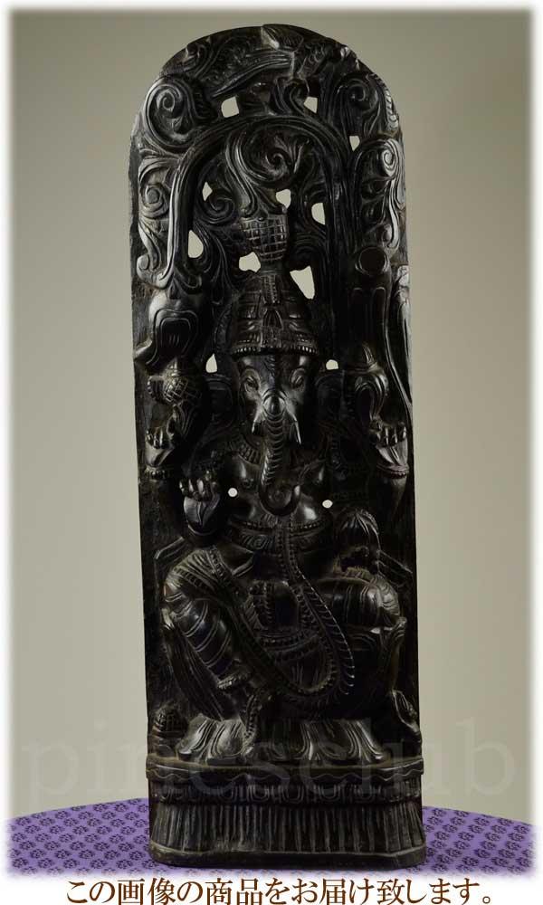 ガネーシャのレリーフ 高さ約87cm 重さ約8kg インドの象の神様 置物 木彫り WGO-124