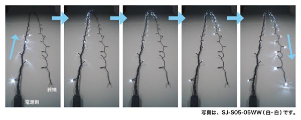 春の新作シューズ満載 美しく流れる光のウェーブ 10m 白 送料無料 ジェフコム イルミネーション LEDストリングフォール 大幅値下げランキング LEDルミネーション 連結タイプ SJ-S05-10WW JAN:4937897116803
