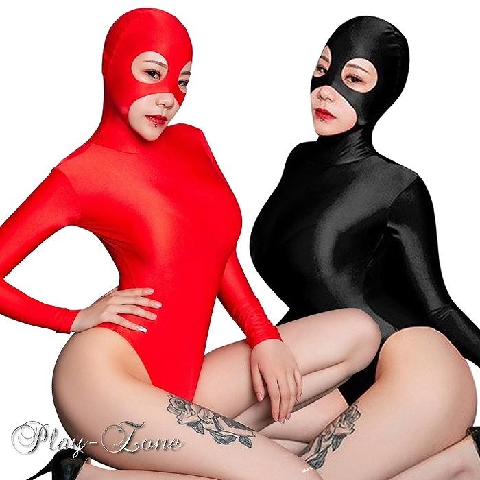 超人気 マスク付き 2頭ファスナー ハイレグ レオタード セクシー コスチューム 送料無料 覆面 ボンテージ 黒 本物 B106 赤 コスプレ 全2色 長袖 ボディスーツ ボディライン