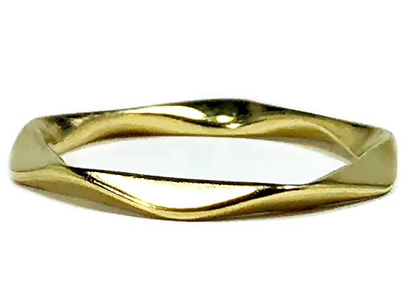 1.2mm幅 価格交渉OK送料無料 18金カクカクリング 無垢リング ゴールド K18リング 変形 指輪 並行輸入品 五角形