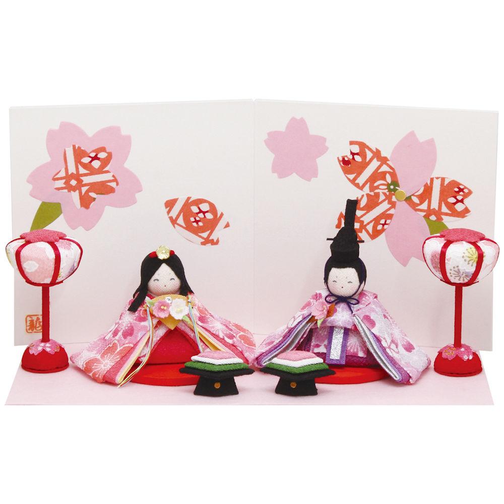 雛人形ぷりてぃ舞桜雛 屏風付き手作りちりめん細工 マンションサイズ コンパクト 桃の節供