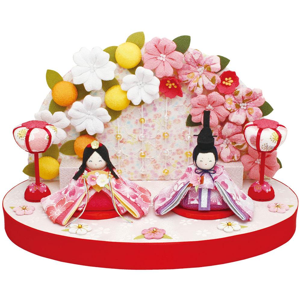 【送料無料】雛人形「ぷりてぃ舞桜花舞台 桜橘衝立付」手作りちりめん細工 マンションサイズ コンパクト 桃の節供
