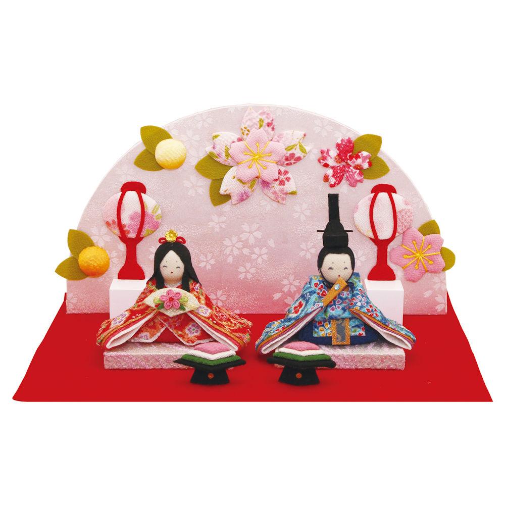 5%OFF クーポン 送料無料 雛人形 にこにこ桜雛飾り 衝立・菱餅・敷物付き 手作りちりめん細工 出店10周年記念