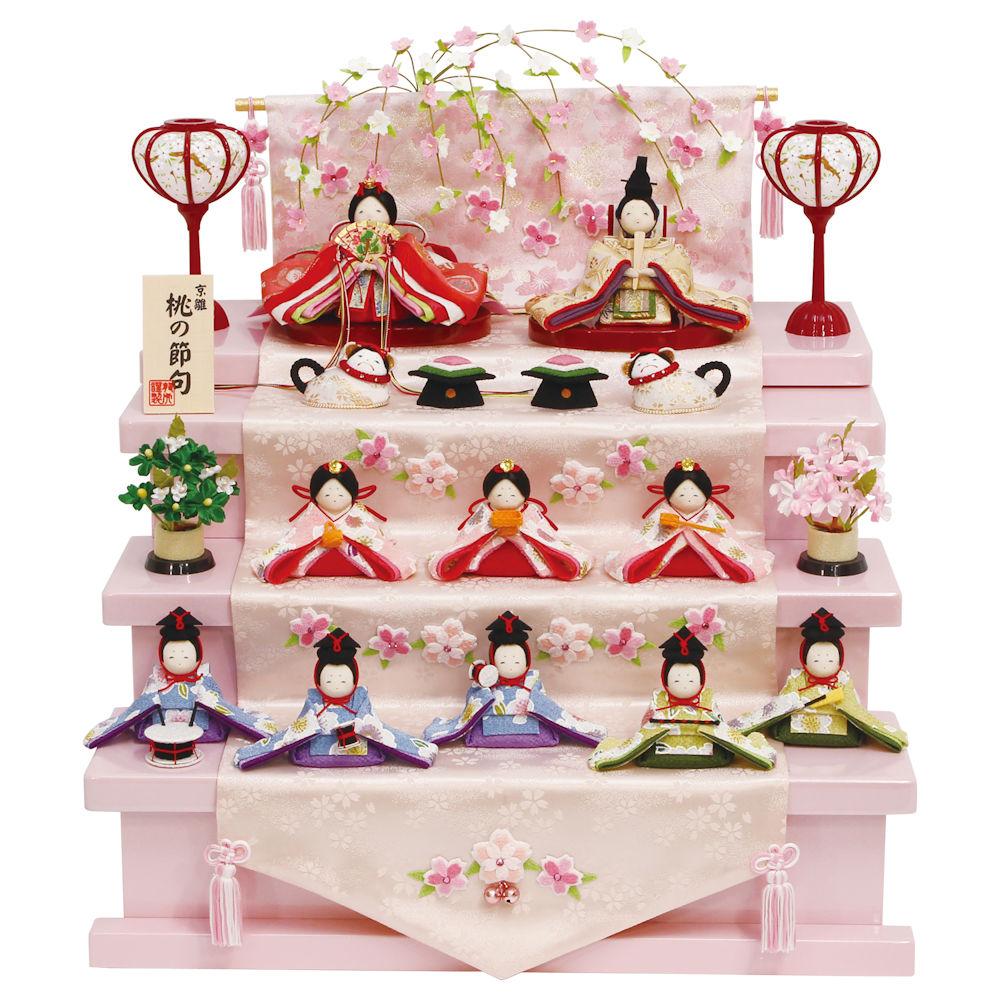 5%OFF クーポン 送料無料 雛人形 桜色のひな祭り10人揃い 几帳・枝垂れ桜飾り・おとぎ犬・台・付 手作りちりめん細工 出店10周年記念