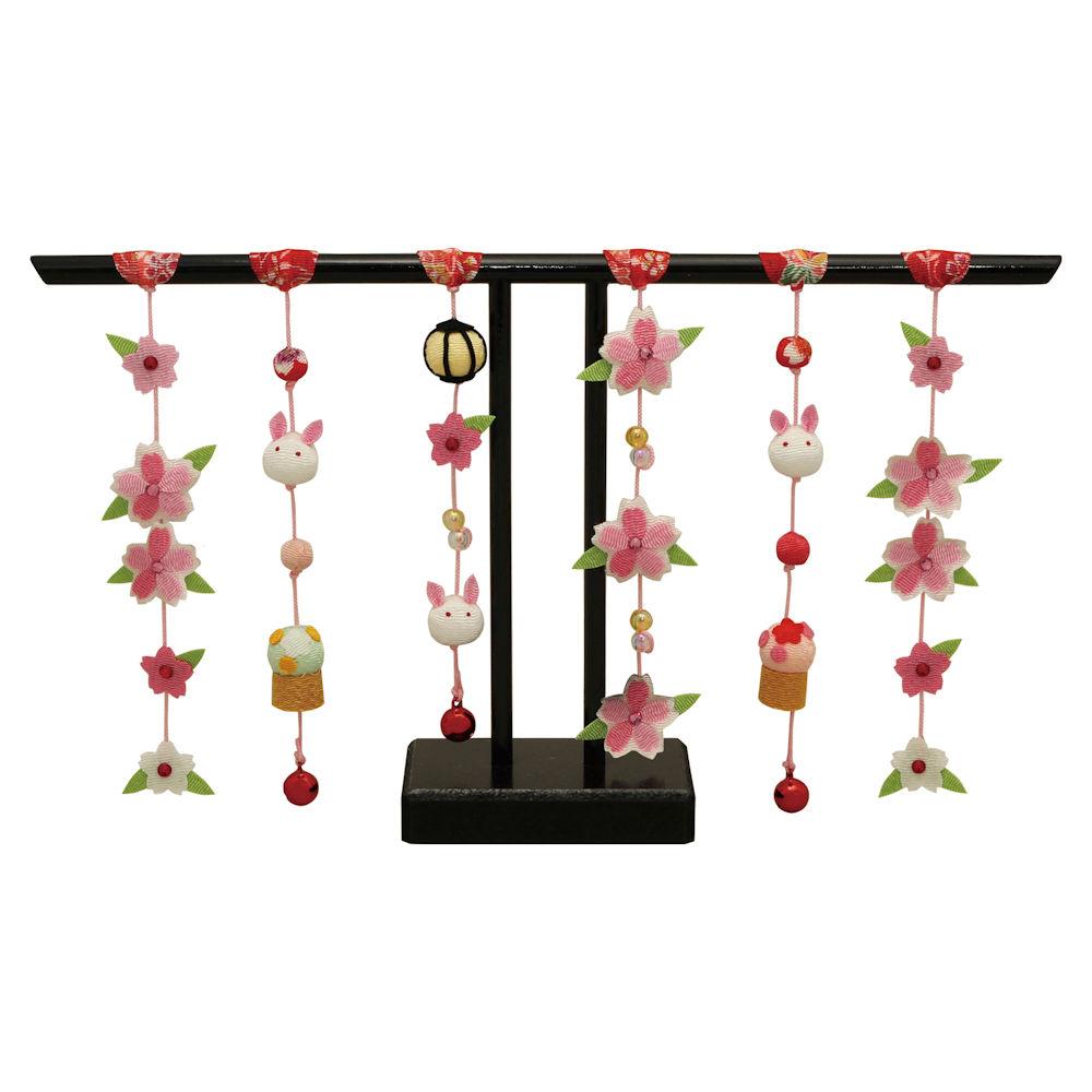 桜うさぎ几帳 雛飾り・コンパクトな小道具・桃の節供・おひなさま 手作りちりめん細工