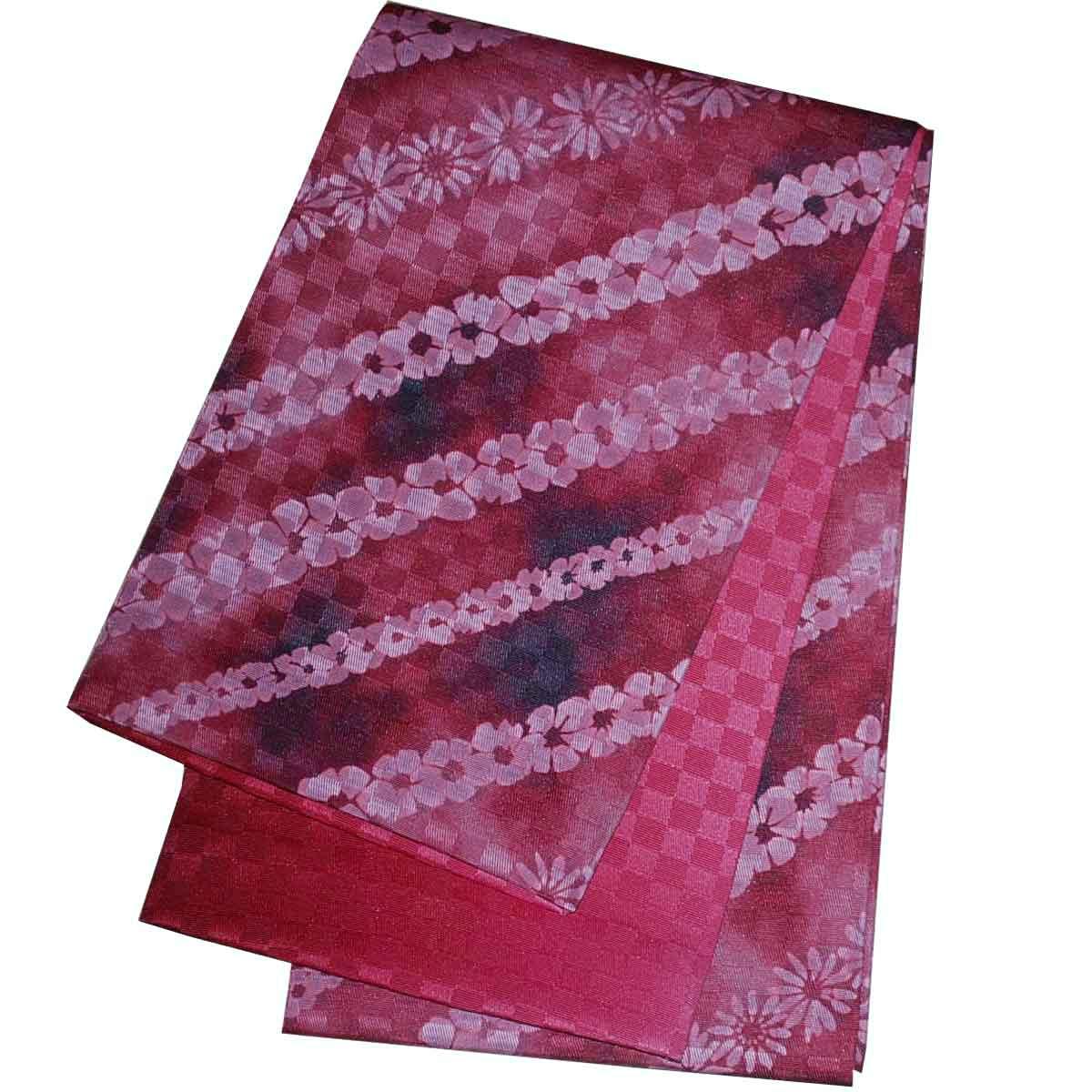 5%OFF クーポン 送料無料 日本製 絞り調本袋 浴衣帯 半幅帯 半幅帯 リバーシブル 小袋帯 裏市松 チェック 赤 出店10周年記念
