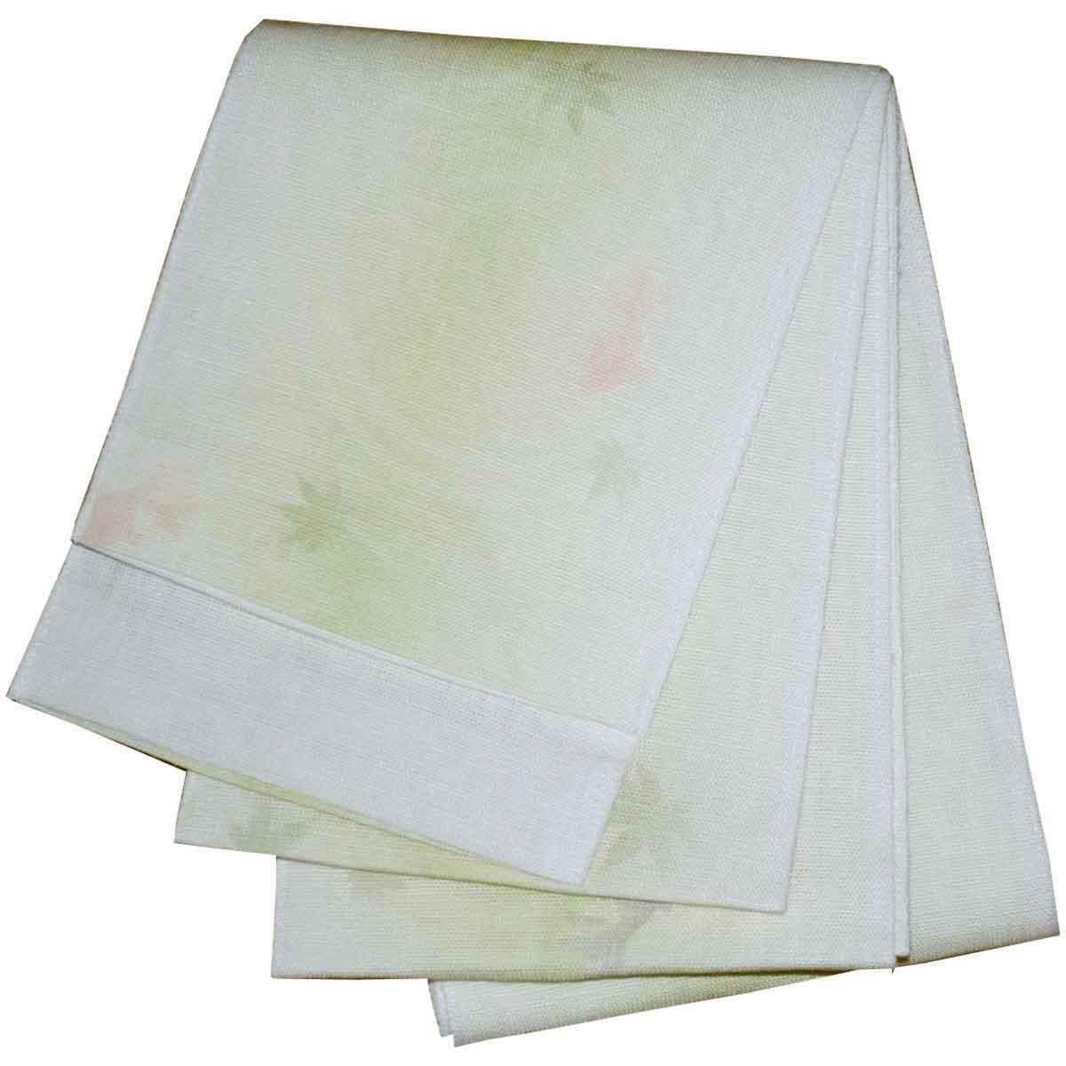 5%OFF クーポン 送料無料 日本製 本麻ボカシ 浴衣帯 半幅帯 半幅帯 小袋帯 金魚柄 黄緑 出店10周年記念
