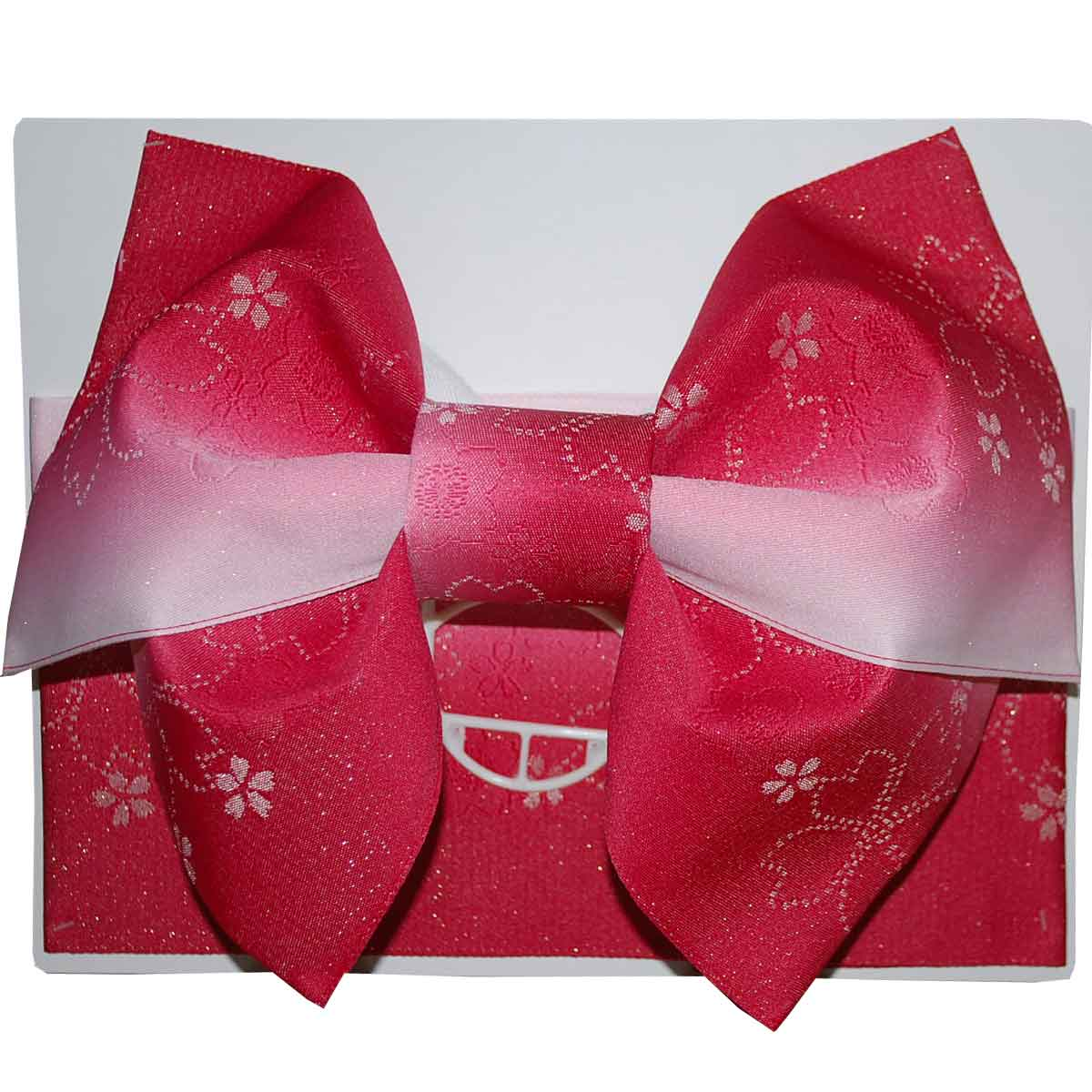 【日本製】簡単着付!グラデーション桜 浴衣 作り帯 結び帯 レッド