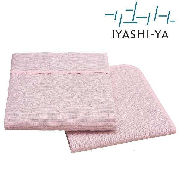 イヤシヤ 麻混 すだれ織り 敷きパッド シングル【麻 綿 日本製 涼しい 綿 日本製 脱脂綿 洗える ブルー ピンク 愛知 西川】