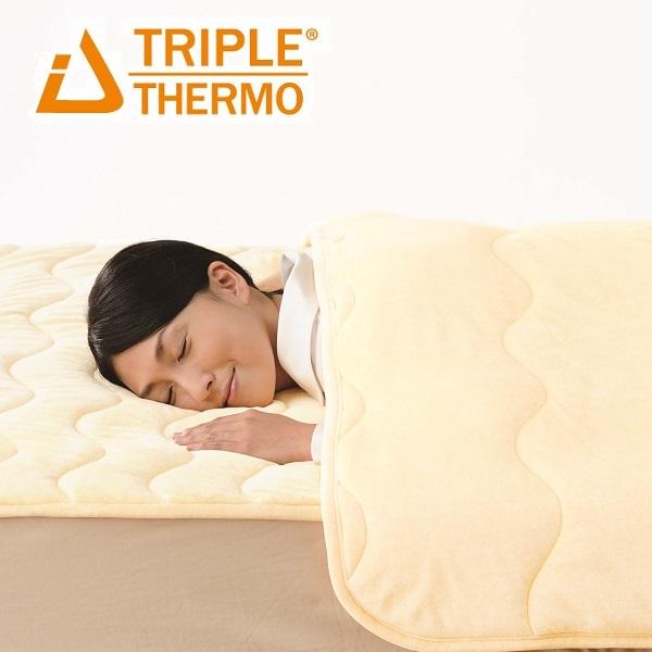 暖かい 敷きパッド トリプルサーモ3 クイーン 発熱 敷きパッド あったか 日本製 綿 洗える 吸汗速乾 アイボリー