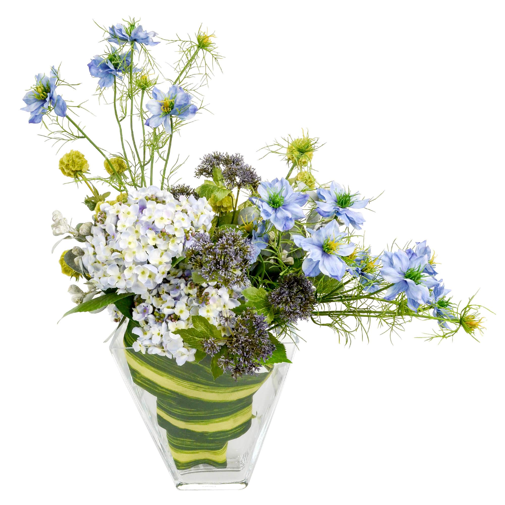 【39ショップ】【送料無料ライン対応】ニゲラとアジサイのレクトベースアレンジ 造花 アーティフィシャルフラワー PRIMA  あじさい 季節の花 贈り物 プレゼント