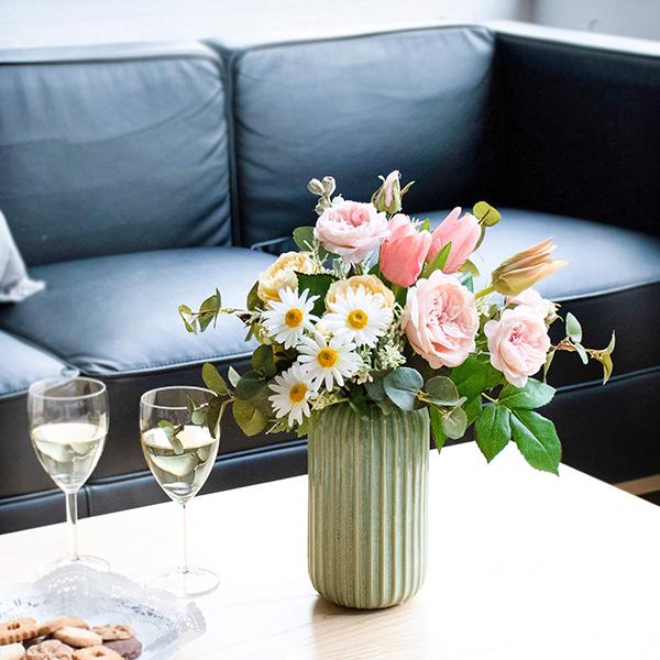 【39ショップ】【送料無料ライン対応】アーティフィシャルフラワー造花ワイルドローズのストレートラインベースアレンジS ピンク アーティフィシャルフラワー PRIMA |