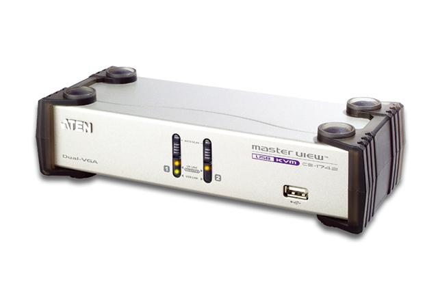 ATEN KVMPスイッチ デュアルモニター対応・2ポート・USB・VGA/オーディオ対応 CS-1742/ATEN