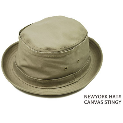 made in usa NEW YORK HAT CO Hat Black pork pie New York Hat CANVAS STINGY  ... 6a5b2e11383