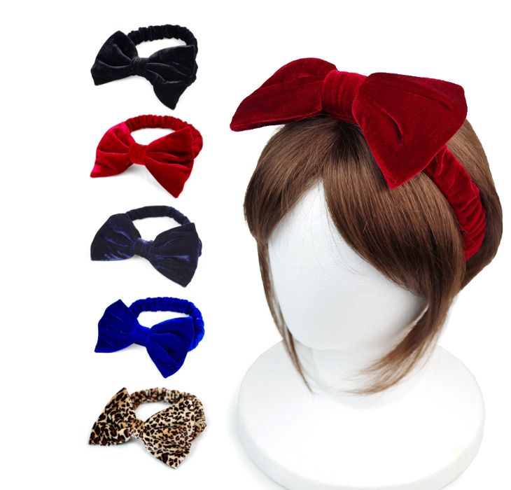 ☆ velour big Ribbon hairband ☆  Free Size  woman women elementary school  middle school high school junior girl HIPHOP heaakuse hair accessories  event ... 162d5cfce1a