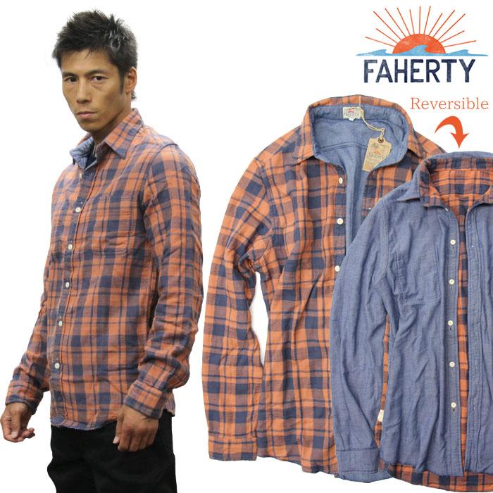 FAHERTY BRAND ファリティブランド リバーシブル 長袖シャツ チェックシャツ オーガニックコットン wm1412