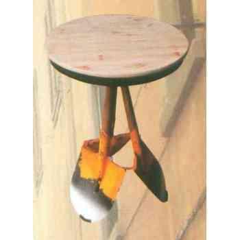 【送料無料】 GARDEN COLLECTION 【81416】 テーブル イエロー φ510×760mm 7.2kg 木、鉄製
