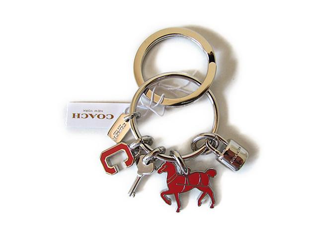 【スペシャル】Coach コーチ キーホルダー キーチェーン チャーム ホース&ロックキー 65167 ピンク/シルバー【新品】COACH Horse Lock Key Multi Mix Key Ring Keychain FOB (Style F65167) SV/PF