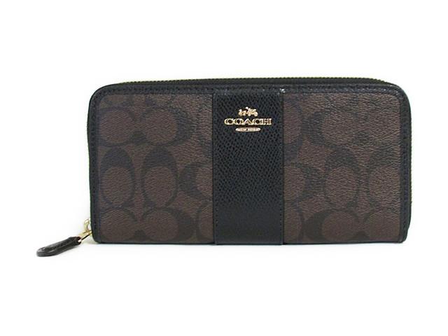 【スペシャル】Coach コーチ ジッパーラウンド 長財布 シグネチャー PVC レザー アコーディオン ジップ 54630 ブラウン/ブラック【新品】COACH Signature PVC Leather Accordian Zip (Style F54630 IMAA8) IM/Brown/Black