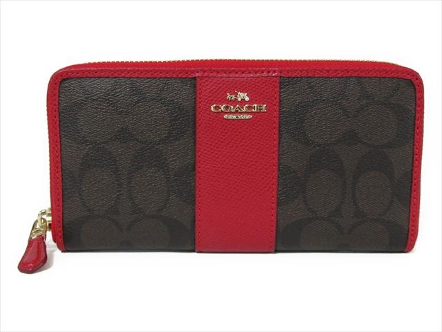 【スペシャル】コーチ 長財布 シグネチャー アコーディオン COACH Signature PVC Leather Accordian Zip F54630 IML72 IM/Brown True Red