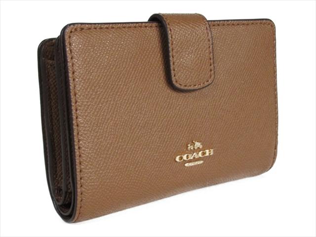 【スペシャル】コーチ 折りたたみ財布 クロスグレイン ミディアム COACH Crossgrain Leather Medium Corner Zip F54010 IMSAD IM/Saddle
