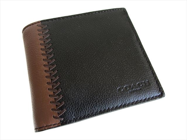 【スペシャル】コーチ 2つ折り 財布 コンパクト ベースボール COACH Compact ID Baseball Leather F75170 BLK Black [並行輸入品]