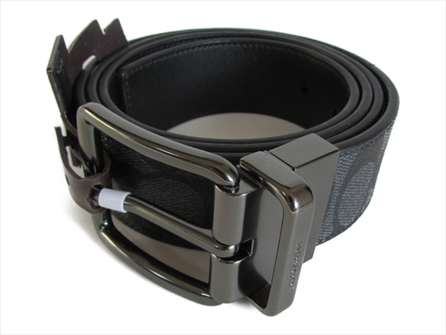 【スペシャル】コーチ ベルト シグネチャー COACH Wide Harness Cut-To-Size Signature Belt F64839 CQ/BK Charcoal/Black [並行輸入品]