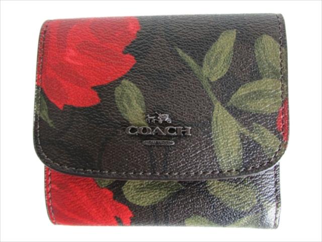 【スペシャル】[コーチ] 折りたたみ財布 フローラル スモール COACH Floral Print Logo Small Wallet F25930 QBLMA QB/Brown Red Multi