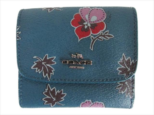 【スペシャル】[コーチ] 折りたたみ財布 ワイルドフラワー スモール COACH Wildflower Print PVC Small Wallet F15563 SVCEH SV/Dark Teal