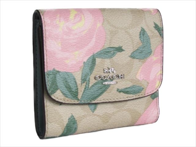 【スペシャル】[コーチ] 折りたたみ財布 フローラル スモール COACH Floral Print Logo Small Wallet F25930 SVBT0 SV/Lt Khaki Blush Multi [並行輸入品]