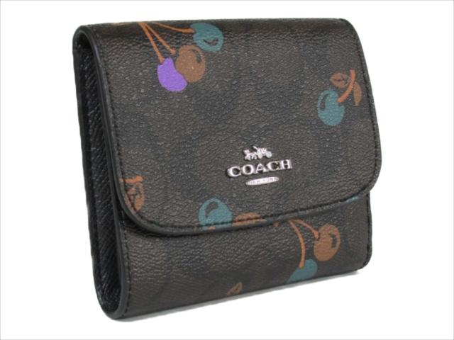 【スペシャル】[コーチ] 3つ折り 財布 チェリー シグネチャー スモール COACH Cherry Signature Small Wallet F31939 SVBMC SV/Brown Multi