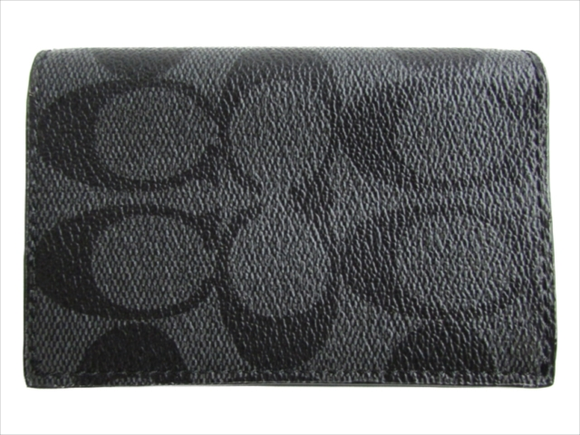 【スペシャル】[コーチ] カードケース ビー フォールド シグネチャー COACH Bifold Card Case Signature PVC F12025 CQ/BK Charcoal/Black