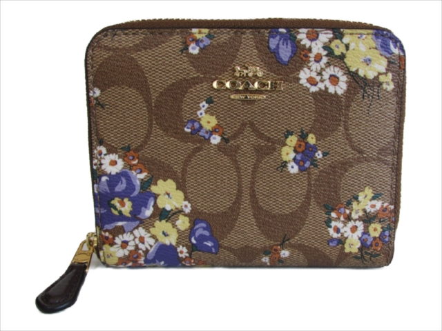 【在庫処分】[コーチ] 財布 シグネチャー メドレー COACH Signature Medley Bouquet Small Zip Around F31955 IME7V IM/Khaki Multi
