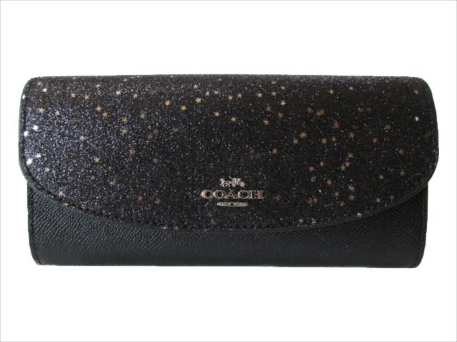 【スペシャル】[コーチ] 長財布 スター グリッター スリム エンベロップ COACH Star Glitter Slim Envelope F38692 SV/BK SV/Black