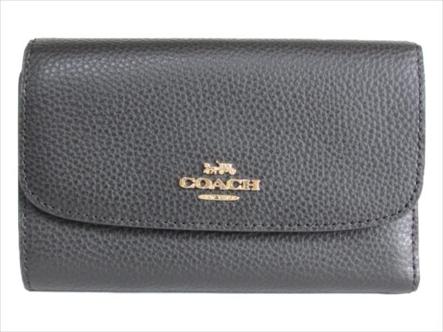 【スペシャル】[コーチ] 3つ折り 財布 COACH Pebbled Medium Envelope Wallet F30204 IMBLK IM/Black