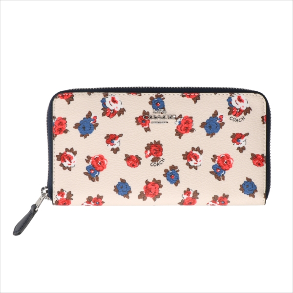 【スペシャル】[コーチ] 長財布 ティーローズ アコーディオン COACH Tea Rose Floral Accordion Zip F57649 SVCAH SV/Chalk Multi