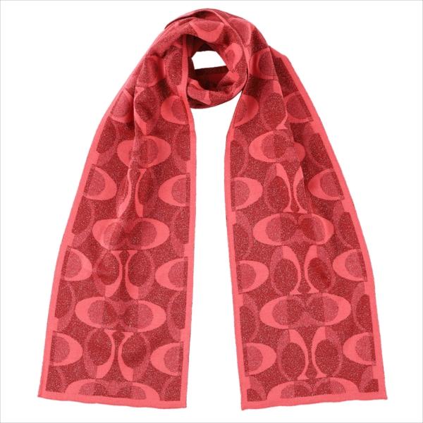 【スペシャル】[コーチ] マフラー スカーフ ストール ロゴ ニット COACH Tonal Dream C Knit Scarf F83834 C3J Pink Scarlet/Silver